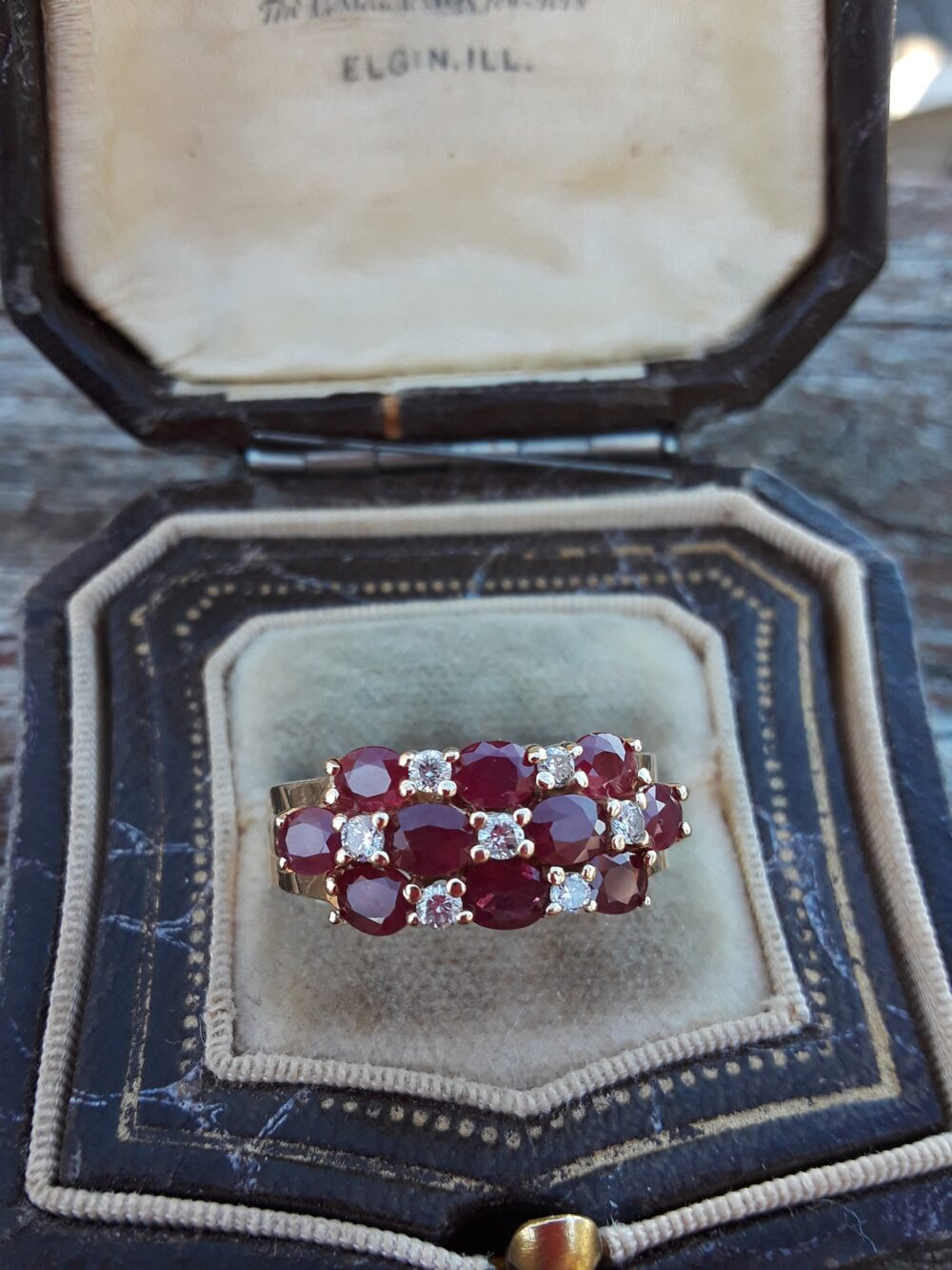 14K Gold Ruby Diamond Wedding Engagement Cocktail Ring Band
