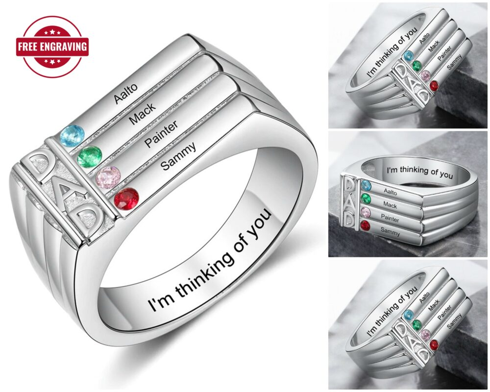 Dad Ring With Birthstones Names - Father's Engraved Personalized Rings For Men Grandfather Birthstone Family