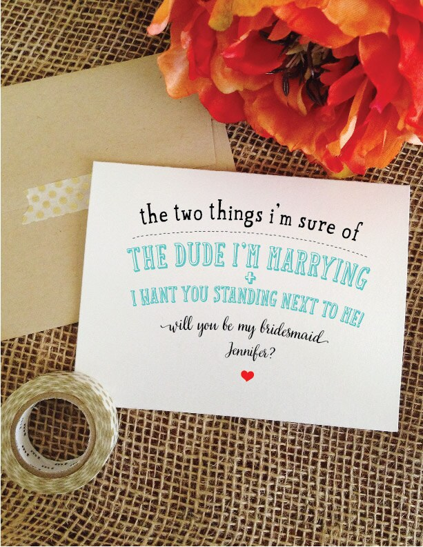 Set Of 6 Funny Bridesmaid Cards - Two Things Bridesmaid Proposal Cards Hjg8