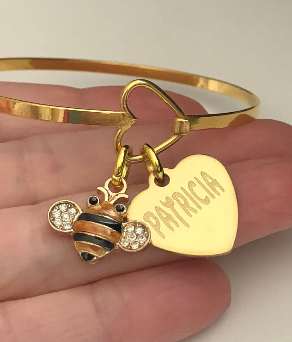 """Bee Bracelet-Engraved With Name Personalized-Fits Wrist 5 1/2 To 7 - Bumble Bee Charm Braceletgreat For Stacking & Layering"""""""