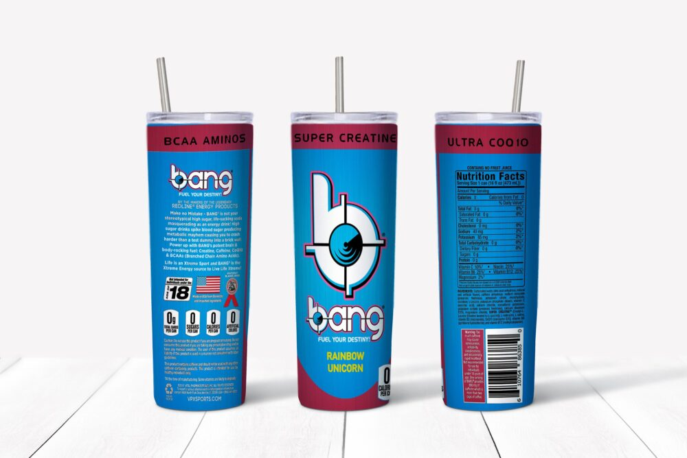 Bang Energy Drink Rainbow Unicorn Stainless Steel 20 Or 30 Oz Tumbler with Straw, Slide Closure Lid, Slip Resistant Bottom Can Be Personalized