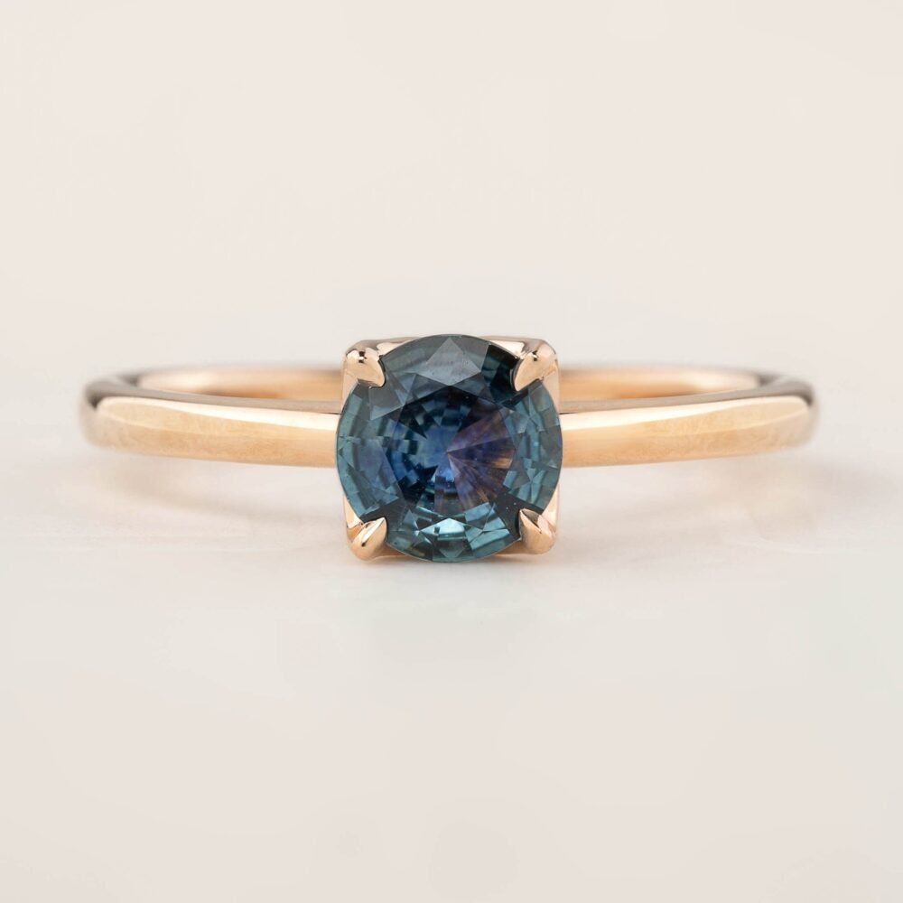Teal Blue Sapphire Solitaire Ring, Blue Montana Sapphire Engagement Simple Minimal Round 14K Rose Gold