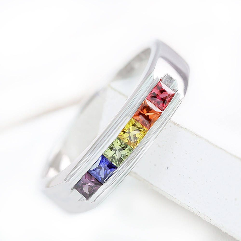 Lgbt Delicate Engagement Ring, Rainbow Sapphire Channel Set Unisex Silver Band