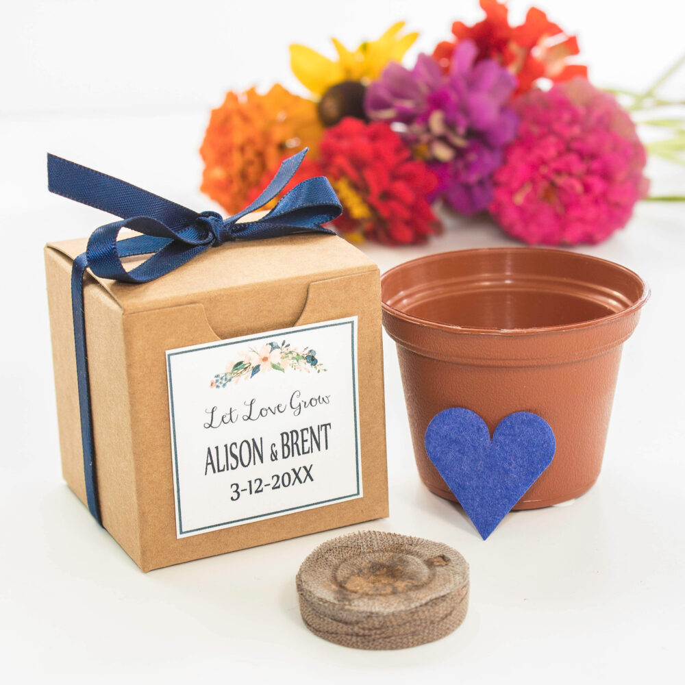 Wedding Favor Boxed Grow Kit Gift - Mini Blooming Heart Flower Seeds   Personalized Thank You Gifts, Bridal Shower Favors &
