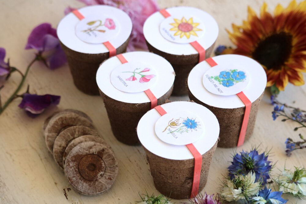 Flower Wedding Favors - Set Of 5 Flower Kits, Garden Party Favor, Annual Seeds, Eco Friendly Gift Seed Kit