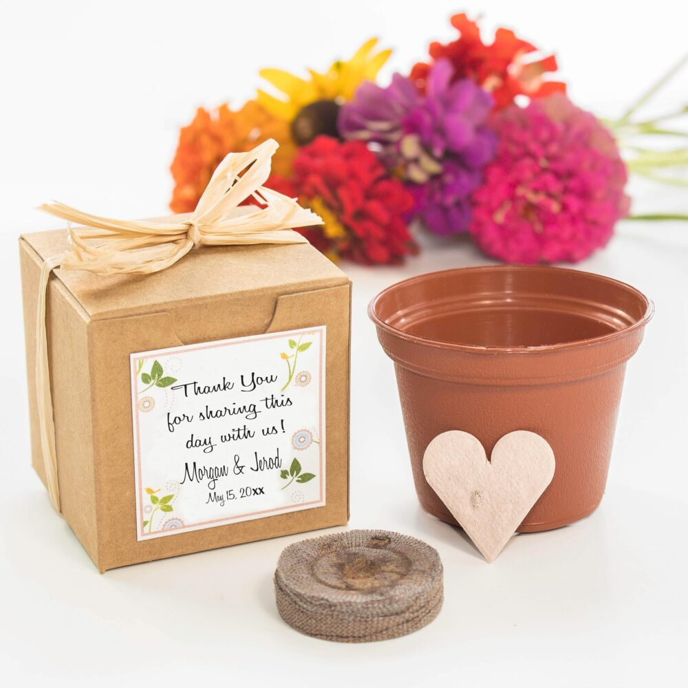 Wedding Favor Flower Garden Grow Kits, Personalized For Weddings & Bridal Shower Favors, Sustainable, Plantable Seed Gifts