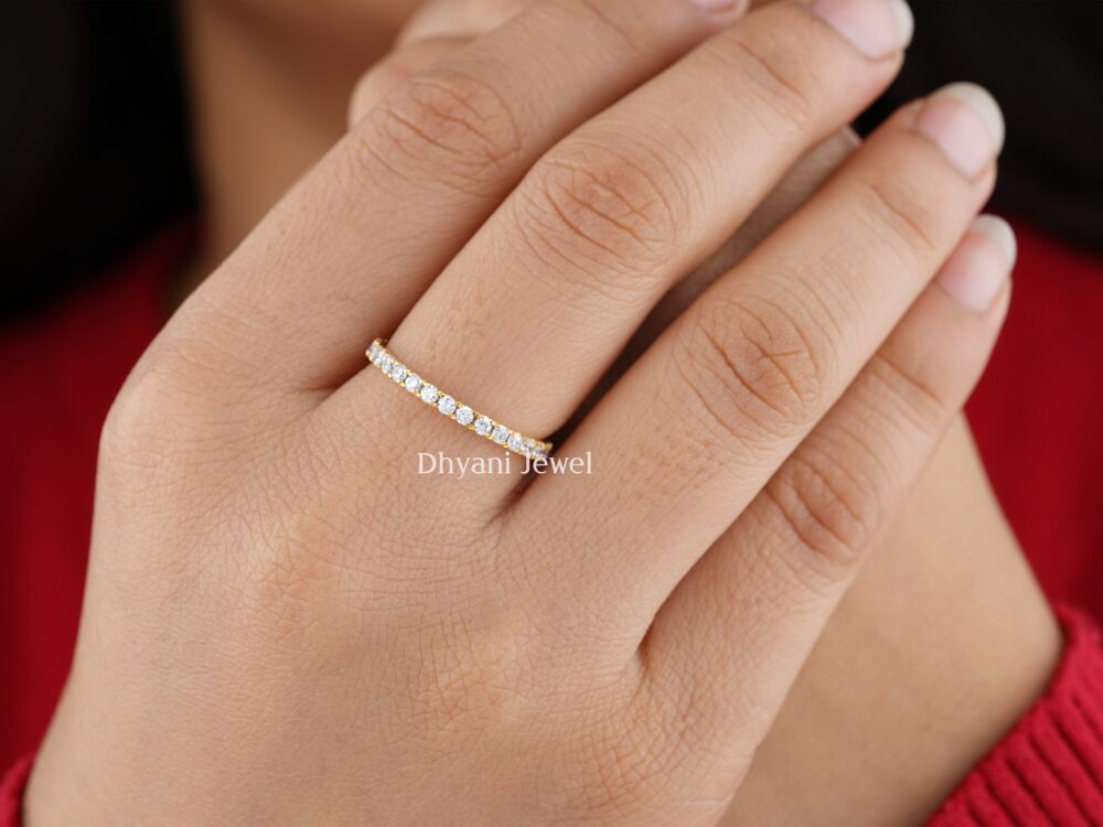 2mm Diamond Wedding Band, Full Eternity Micro Pave Moissanite Stackable Unique Matching Customized Yellow Gold Band