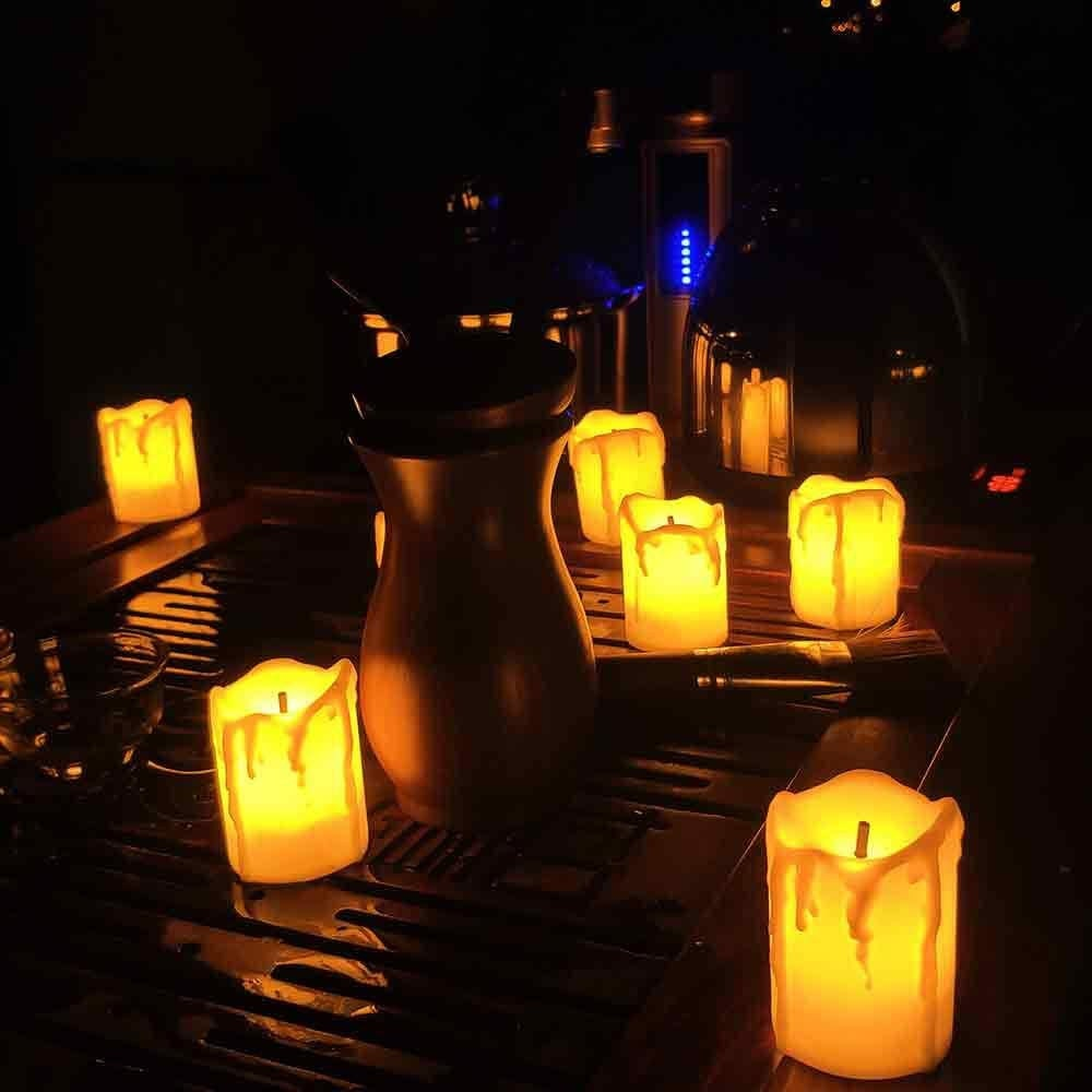 Flameless Candles | Led Votive Battery Operated 12 Pack Melted/Dripping Batteries Included| Kid & Pet Safe