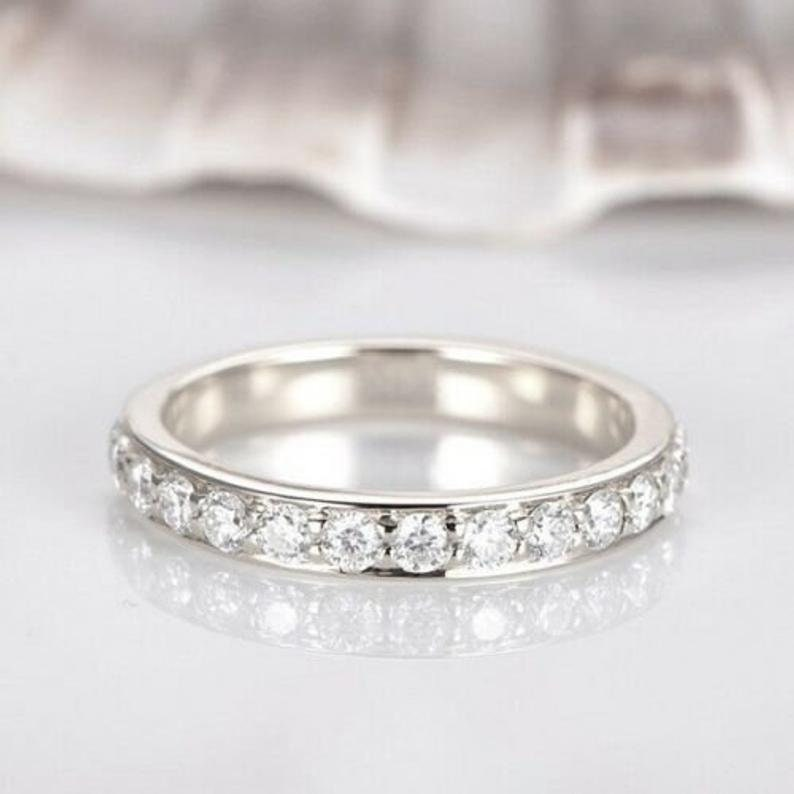 0.80 Ctw Lab Diamond Wedding Band. 14K White Gold Plated in Half-Way & Eternity. Cz Band Matching Engagement Ring