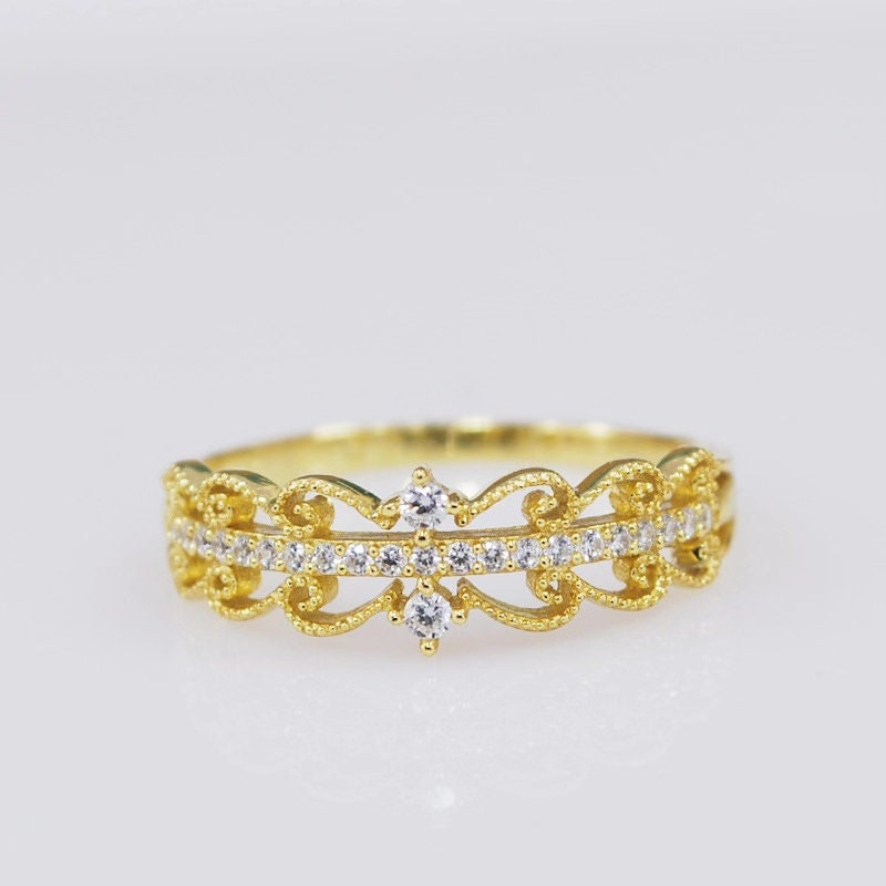 Vintage Crown Wedding Ring, Cz Diamond Band, Princess Stackable Yellow Gold Tiara Valentine's Day Gifts For Her