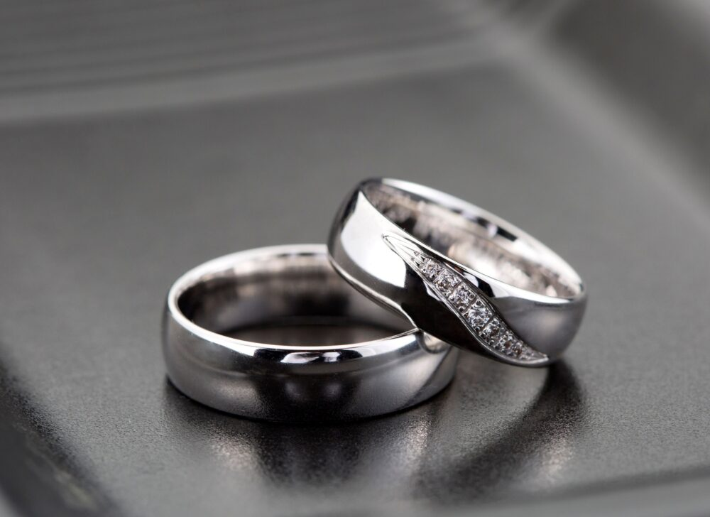 0, 10 Ct Silver Wedding Band Set/Diamond Couple Ring For Men & Women Sterling Mens - Silver Band
