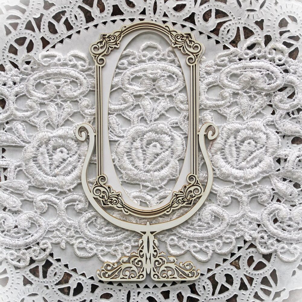 Reneabouquets Beautiful Board Garden Party ~ Victorian Mirror Laser Cut Chipboard Double Side Vintage White Coated