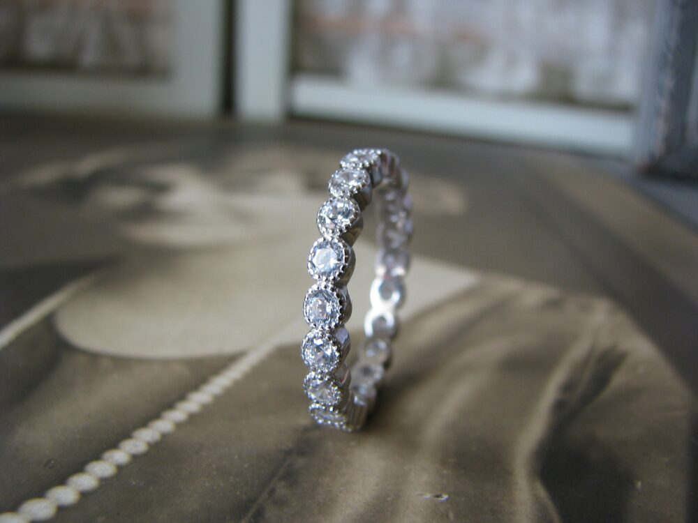 Art Deco Style Wedding Band, Sterling Silver Cz Eternity Anniversary Ring, Bridal Size 8