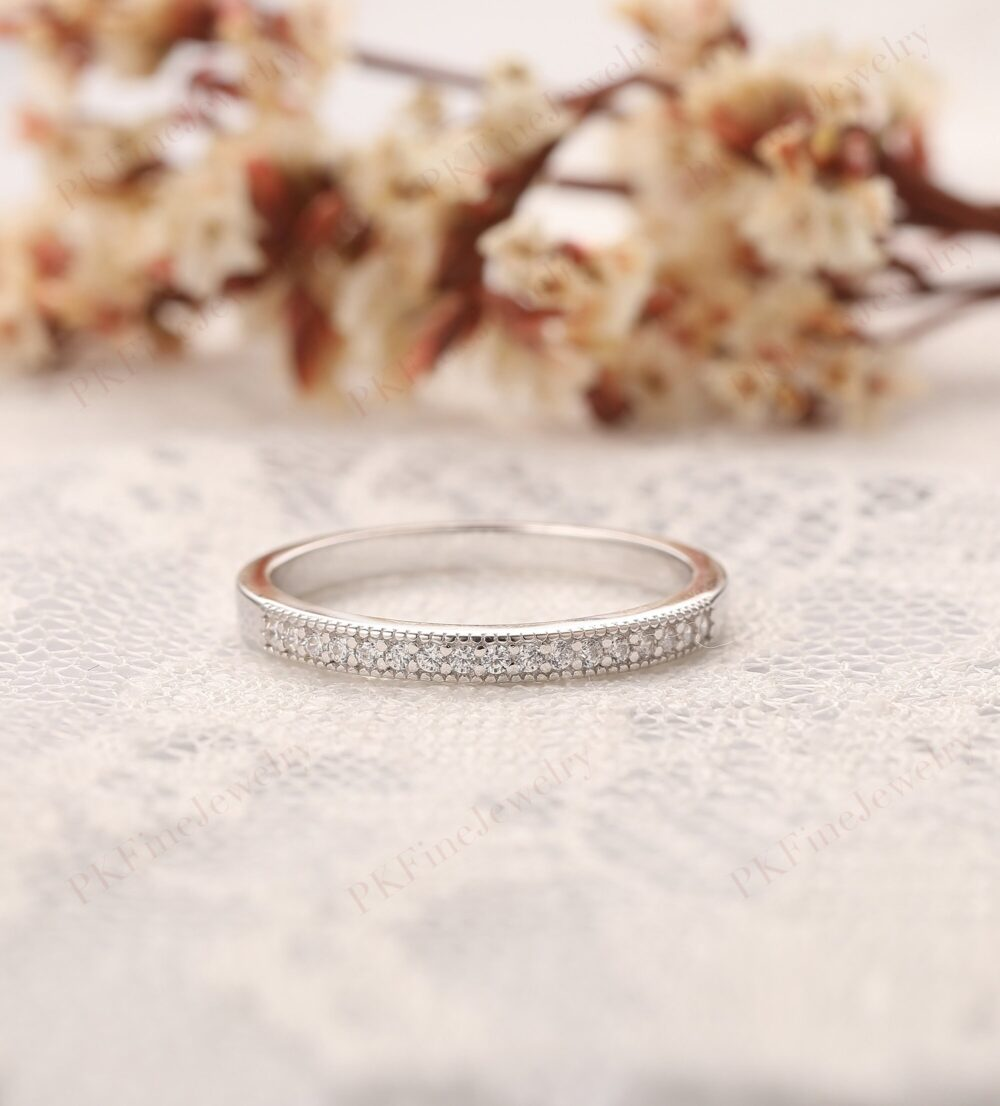 Delicate Wedding Band, Plated White Gold Half Eternity Ring, Simulated Diamond Simple Design Daily Fine Jewelry