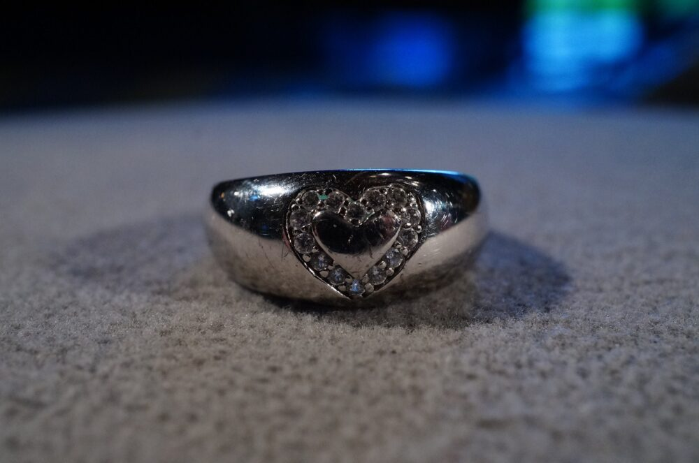 Vintage Sterling Silver Wedding Band Stacker Design Ring 14 Round Prong Set Cubic Zirconia Domed Heart Setting Art Deco Style Size 9