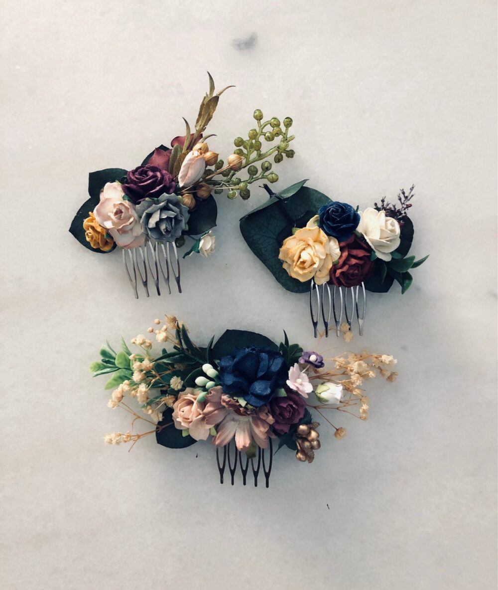 Rustic Wedding Flower Hair Comb, Floral Piece, Hair Comb Champagne Mustard Navy Burgundy