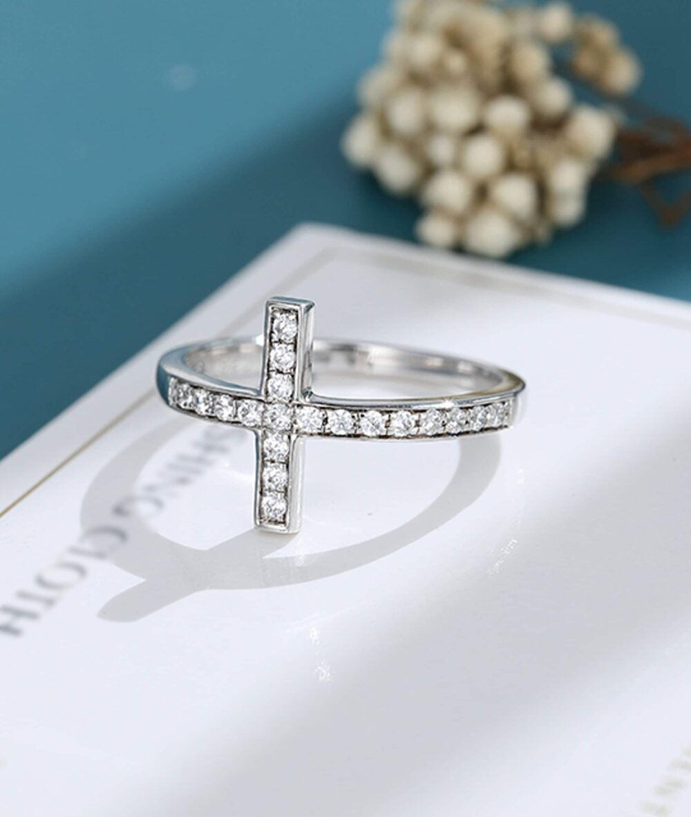 Moissanite Wedding Band Solid White Gold Wedding Vintage Sideways Cross Purity Ring Christian Rings Unique Dainty Bridal Promise