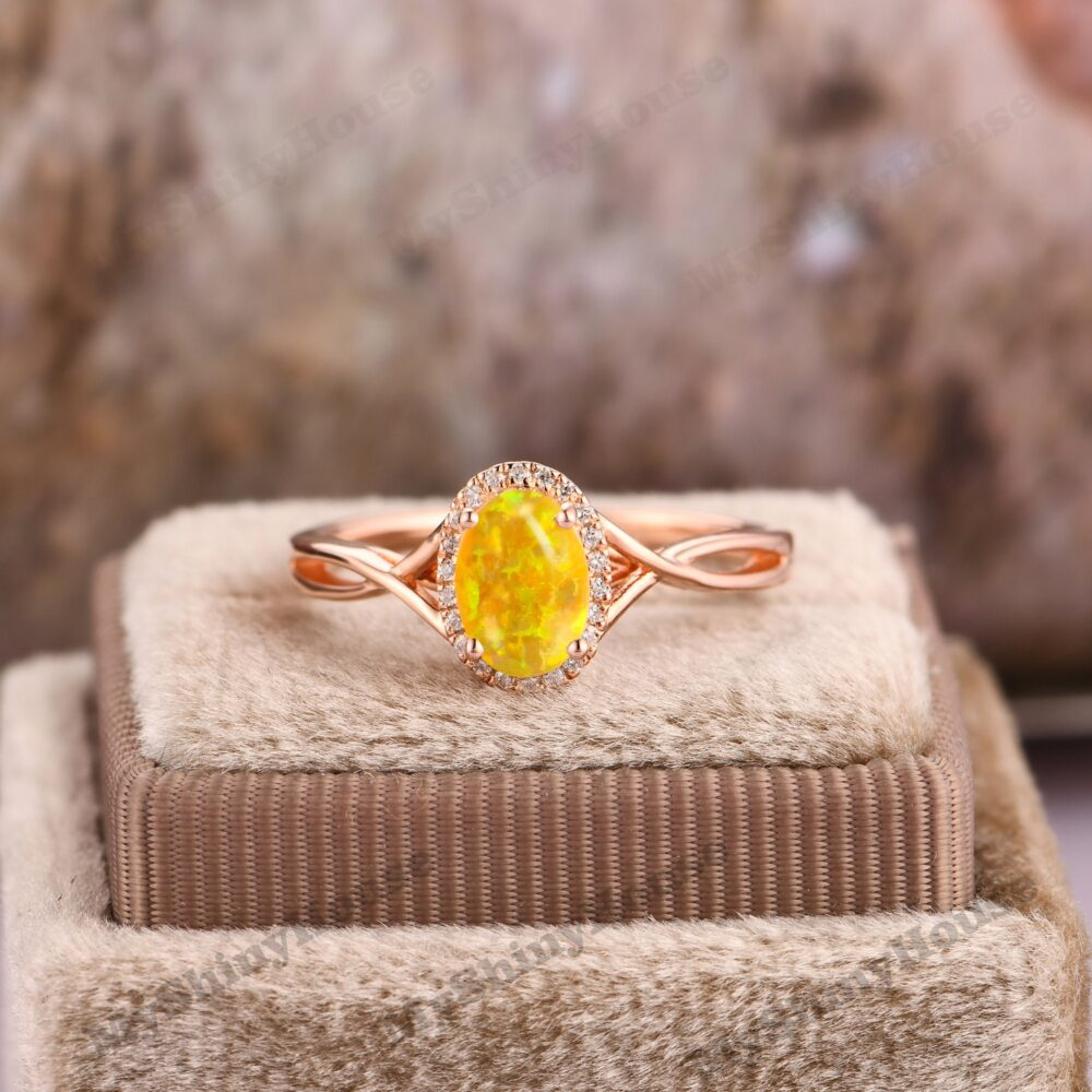 Cross Band Ring/ Opal Anniversary Women Ring For Wedding/ Oval Cut 5x7mm Amber Yellow Handmade Jewelry/Opal Engagement
