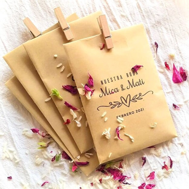10 Wedding Favor Paper Bag + Mini Clothespins, Small Sachet Bags in Kraft Paper, Bag, Candy Seed