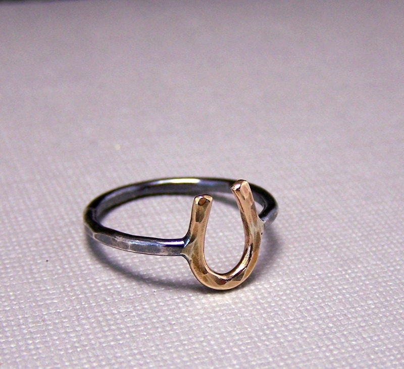 Silver & Gold Horseshoe Ring - Sterling Silver Gold Filled Midi Gift For Her Jewelry Sale Rustic Horseshoe