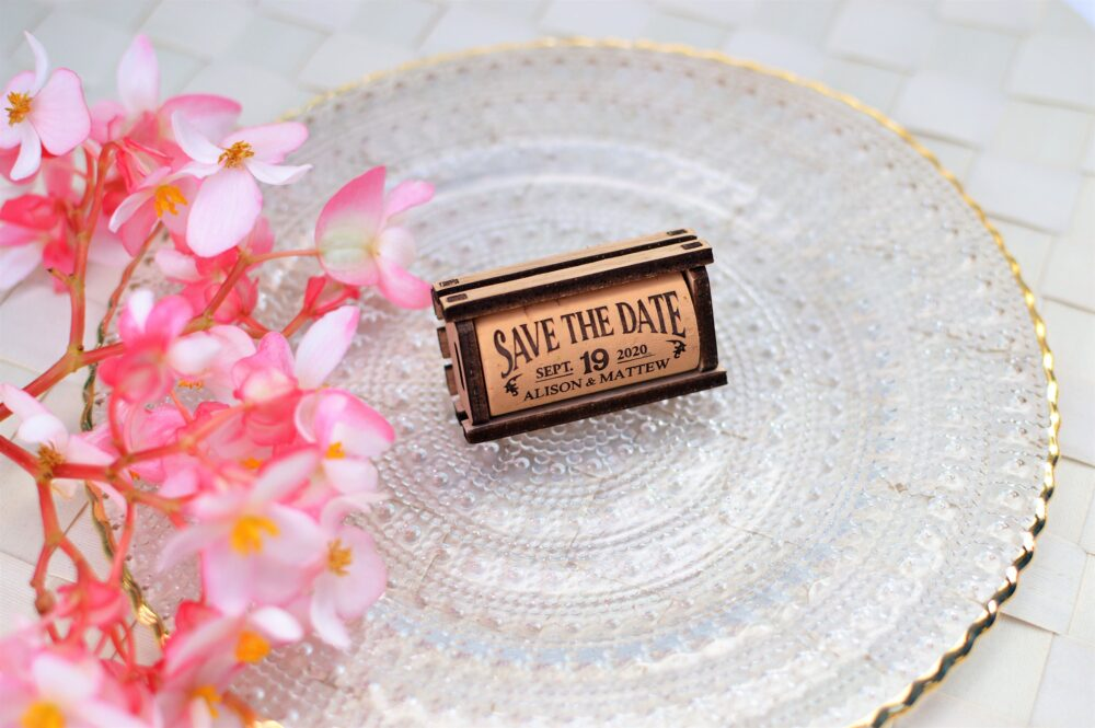 Rustic Save The Date Of Wine Corks With Wood Box