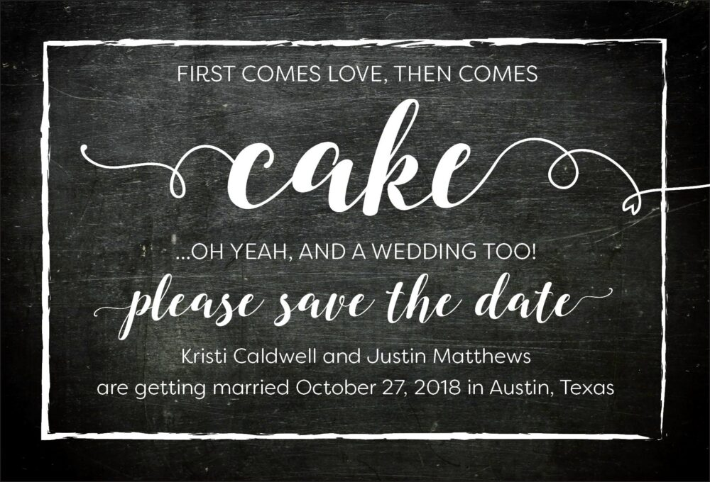 First Comes Love Then Cake Save The Date Postcards