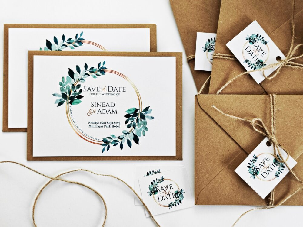 Save The Date Card Eucalyptus Leaves, Wedding Invitation Cards, Rustic, Elegant Personalized Invitation, Favours