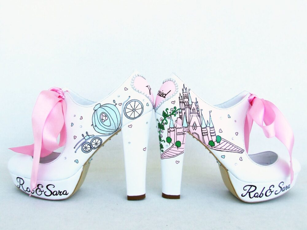 Wedding Shoes, Handpainted Bridal Fairy Tale Shoes For Bride
