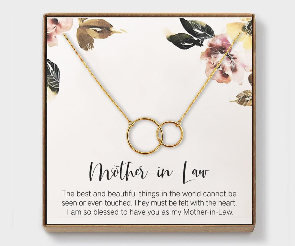 Mother in Law Necklace, Wedding Gift, From Bride, From Groom, Sterling Silver, Gold, Daughter Law, Jewelry, Presents, Interlocking