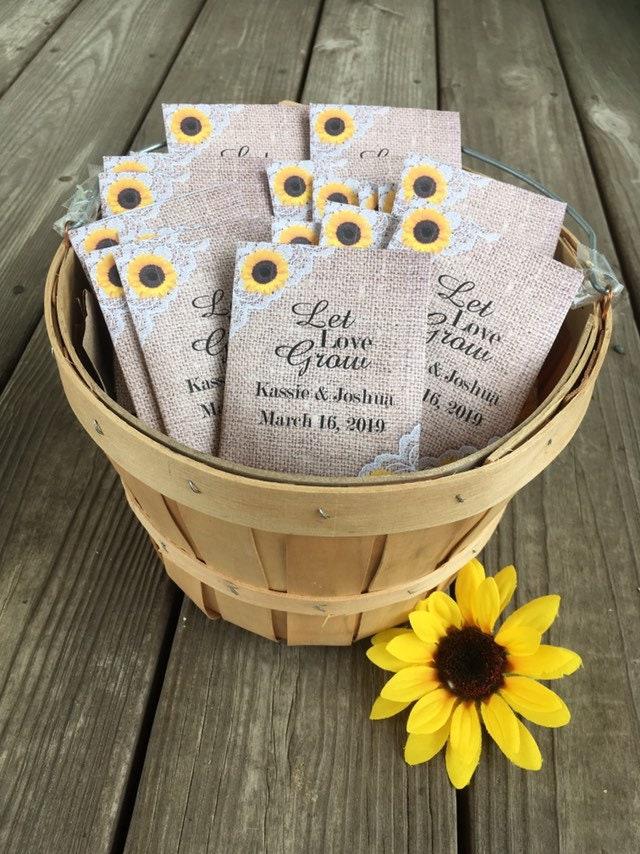 Personalized Seed Packet Wedding Favors With Sunflower Burlap & Lace