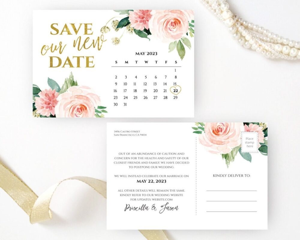 Floral Calendar Save The Dates Printed | Wedding Save Date Postcard Personalized