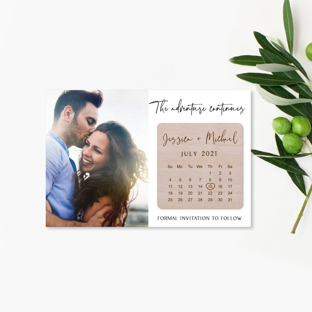 Wedding Save The Date Magnet, Wood Date, Calendar Personalized Invitation 10Pcs