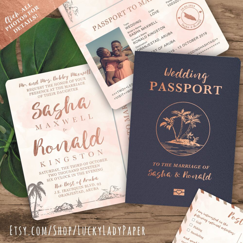 Beach Wedding Passport Save The Date Destination Invitation Set in Rose Gold Watercolor Tropical By Luckyladypaper - See Details To Order