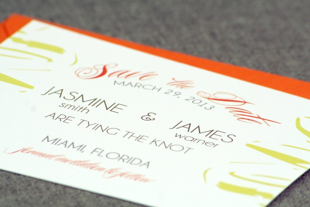 """Beach Wedding, Orange & Green, Hawaiian Save The Dates, Floral Invitation - Dramatic Tropical Date Card With Envelope Deposit"""""""