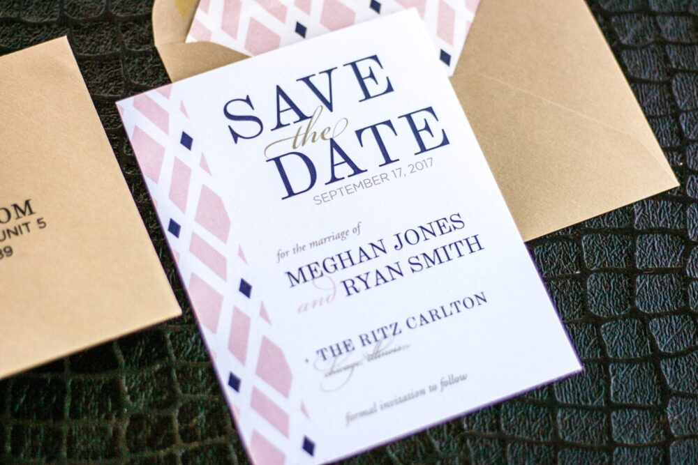"""Geometric Wedding Invitations, Save The Date Cards, Blush Gold & Navy Blue - Classic Elegance Card With Envelope Deposit"""""""