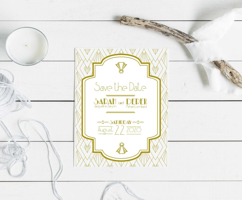 Art Deco Save The Date, Formal Elegant Save Date, Wedding Roaring 20S Vintage Great Gatsby