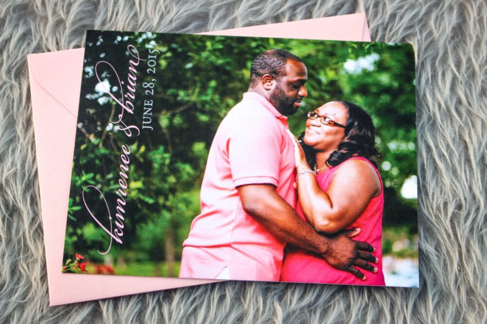 """Photo Save The Dates, Wedding Announcment Pictures, Formal Invitations - Elegant Damask Date Card With Envelope Deposit"""""""