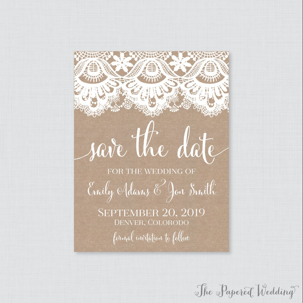 Save The Date Magnets - Burlap & Lace For Wedding Fridge With Brown 0002