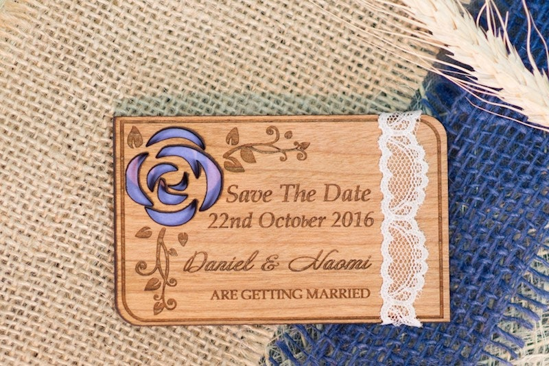 Lace Save-The-Date Magnet, Wooden Save The Date Card, Gift With A Lace, Purple Flower Date, Cutom Wedding Souvenir