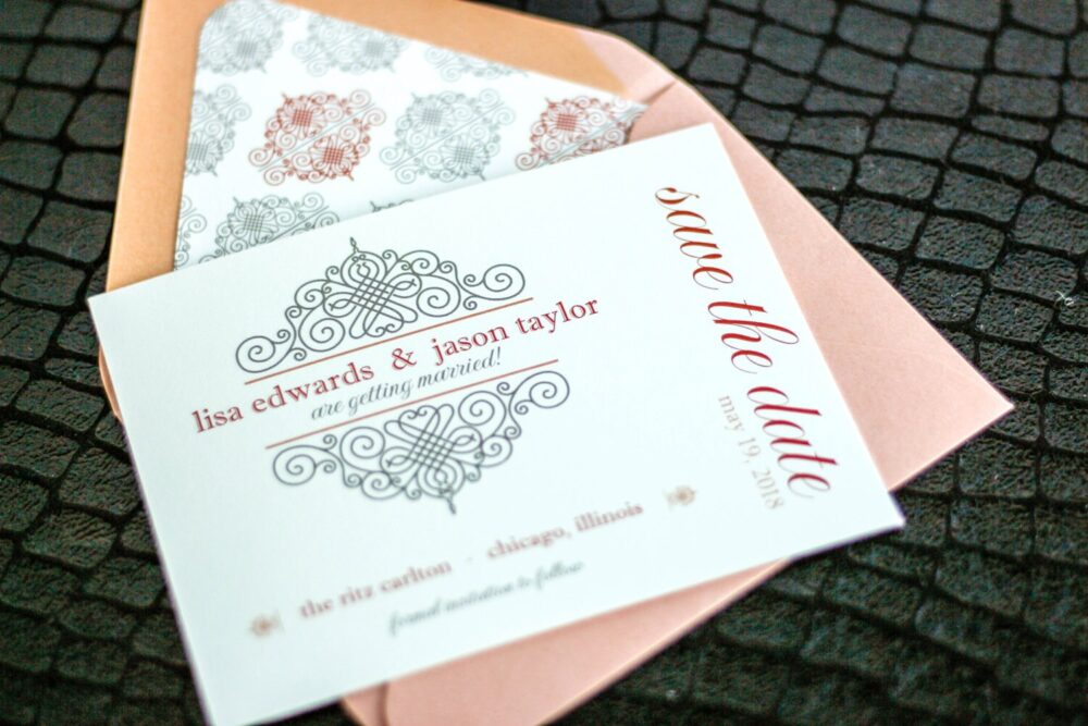 """Save The Date, Vintage Wedding Dates, Peach & Grey Invites - European Scroll Date Card With Envelope Deposit"""""""