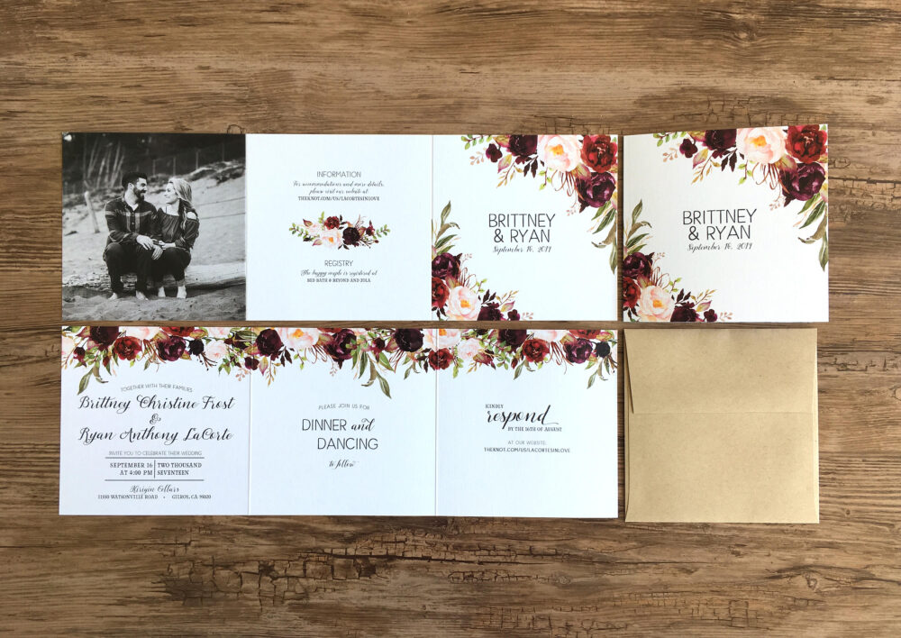 Fall Floral Wedding Invitation Suite Tri-Fold Watercolor Invitations - All in One Photo Burgundy | 214