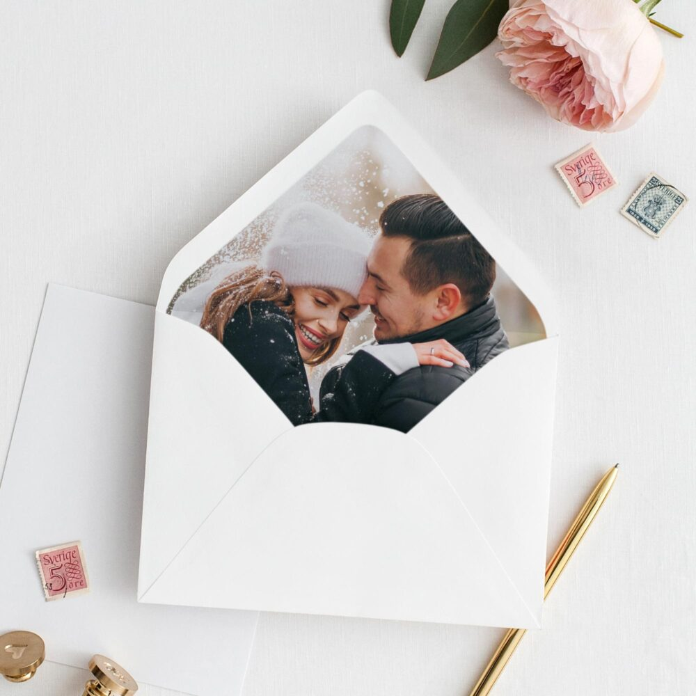 Personalized Wedding Envelope With Photo Liner. Romantic Invitation With Bride & Groom Photo. Custom Couple's