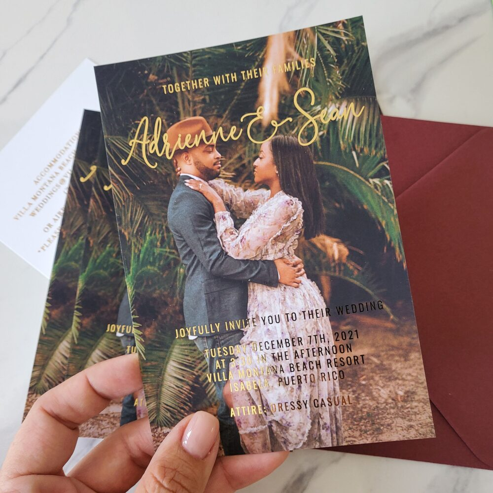 Photo Wedding Invitations, Invitations With Picture, Invites, Custom Picture Gold, Silver, Rose Gold Foiling