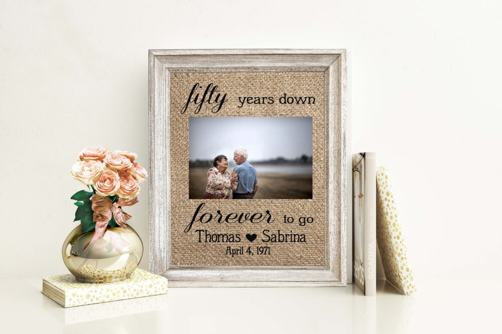 50Th Wedding Anniversary Gift For Parents Couple Mom & Dad Fiftieth 50 Years Down Custom Keepsake Rustic Picture Photo Frame Personalized