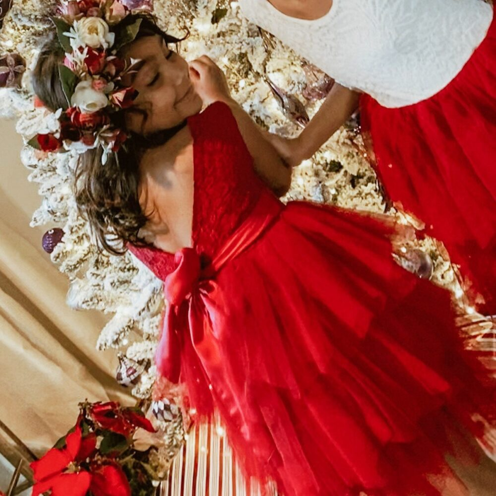 Red Lace Tulle Dress, Holiday Party Dress, Christmas Photo Dress, Little Girl Dress