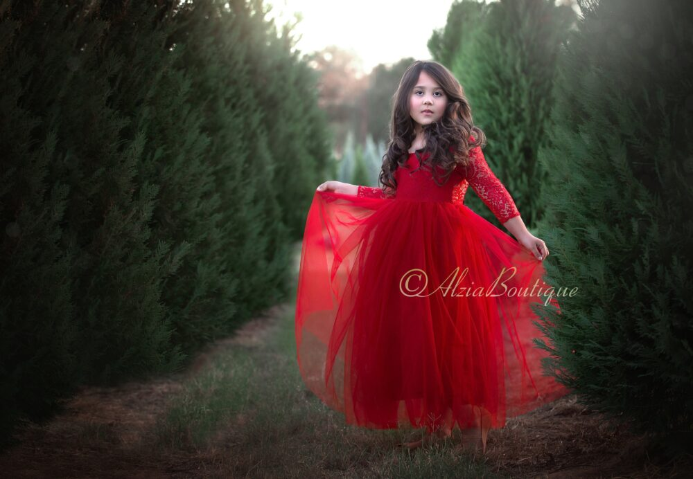 Red Girls Christmas Dress, Toddler Twirl Dress, Holiday Party Photo Lace Dress