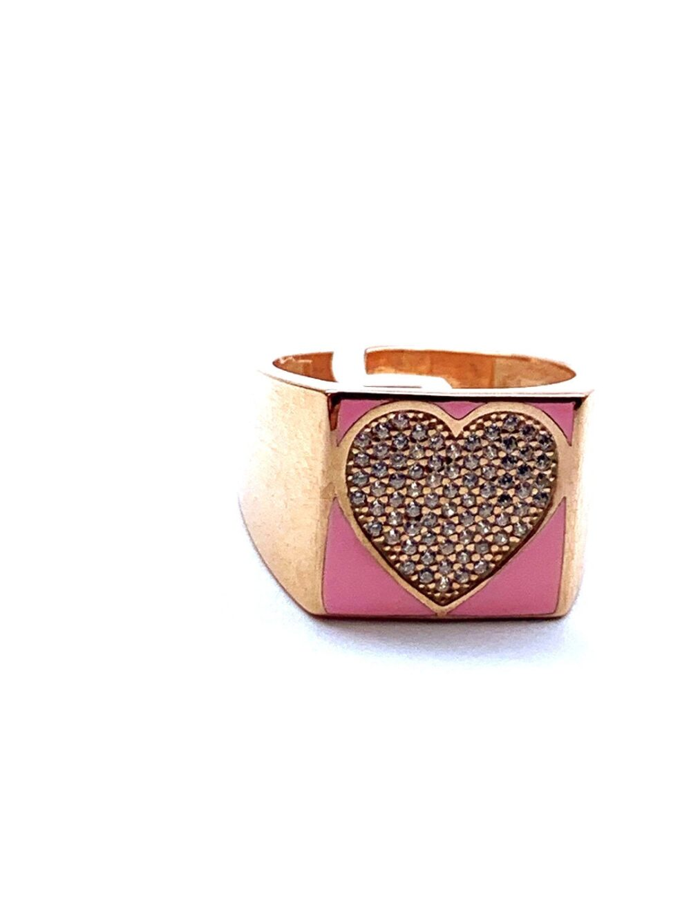 Pink Heart Ring, Enamel Jewelry, Colorful Cz 925 Sterling Silver, Rose Gold Vermeil, Gift For Her, Adjustable