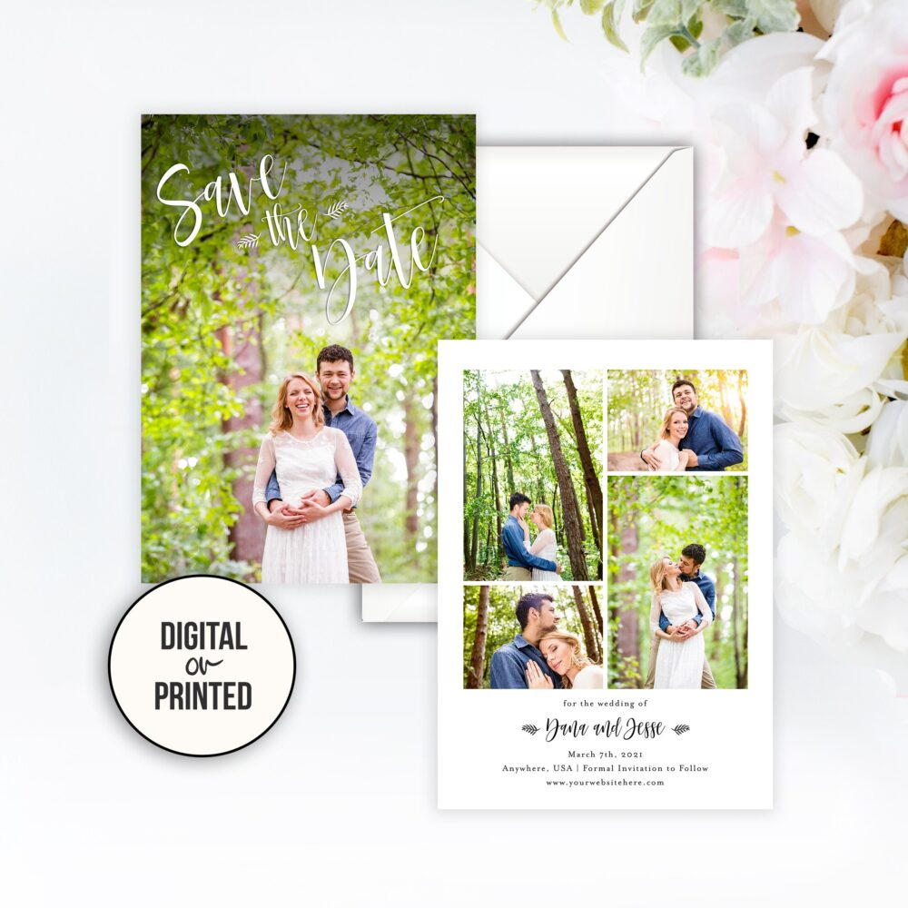 Save The Date Wedding Photo Elegant Card Collage Printable Printed Our