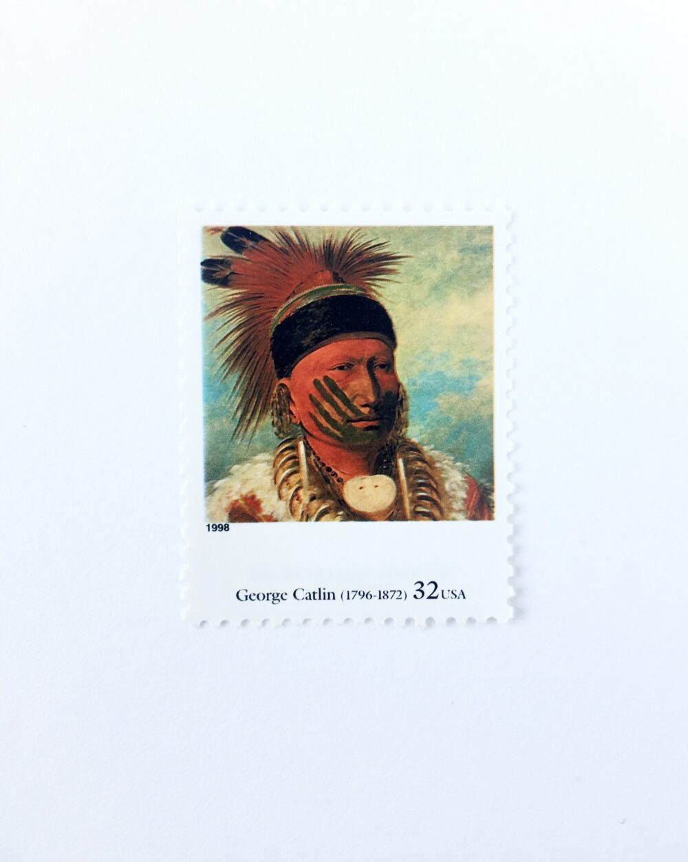 """5 White Cloud, Chief By George Catlin Postage Stamps // Unused 32 Cent Stamp Four Centuries Of American Art Wedding Postage"""""""