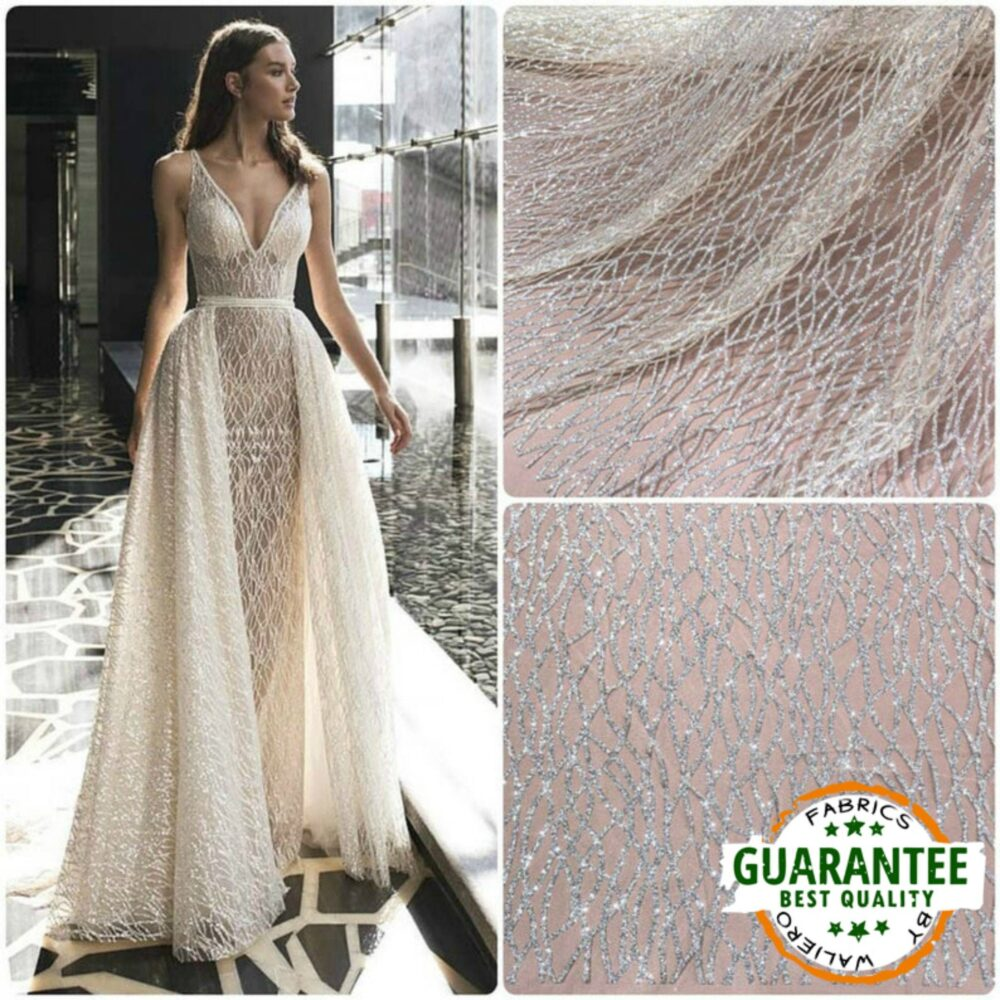 Glitter Tulle 3D Lace Mesh Fabric By The Yard Sparkle Silver Wedding Gown